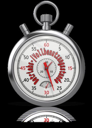 Bild einer Stoppuhr mit Vollbenutzungsstunde und Betriebsstunde